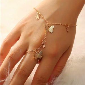 🆕 Butterfly + Star Finger Chain Bracelet